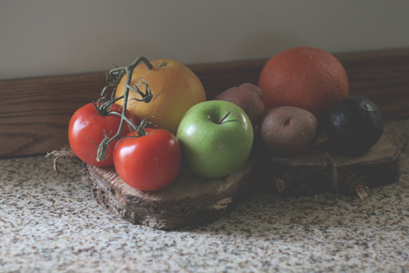 Fruits-and-vegetables-on-tree-stumps